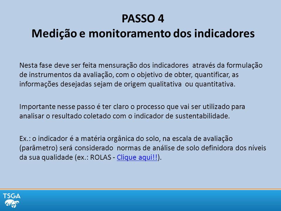 PASSO 4 Medição e monitoramento dos indicadores
