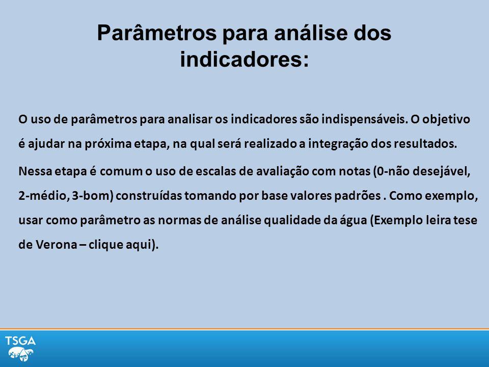 Parâmetros para análise dos indicadores: