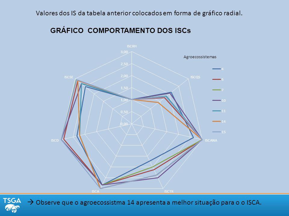 Valores dos IS da tabela anterior colocados em forma de gráfico radial.