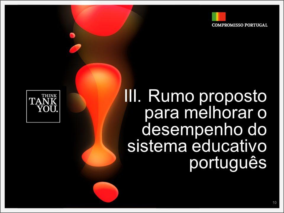 III. Rumo proposto para melhorar o desempenho do sistema educativo português