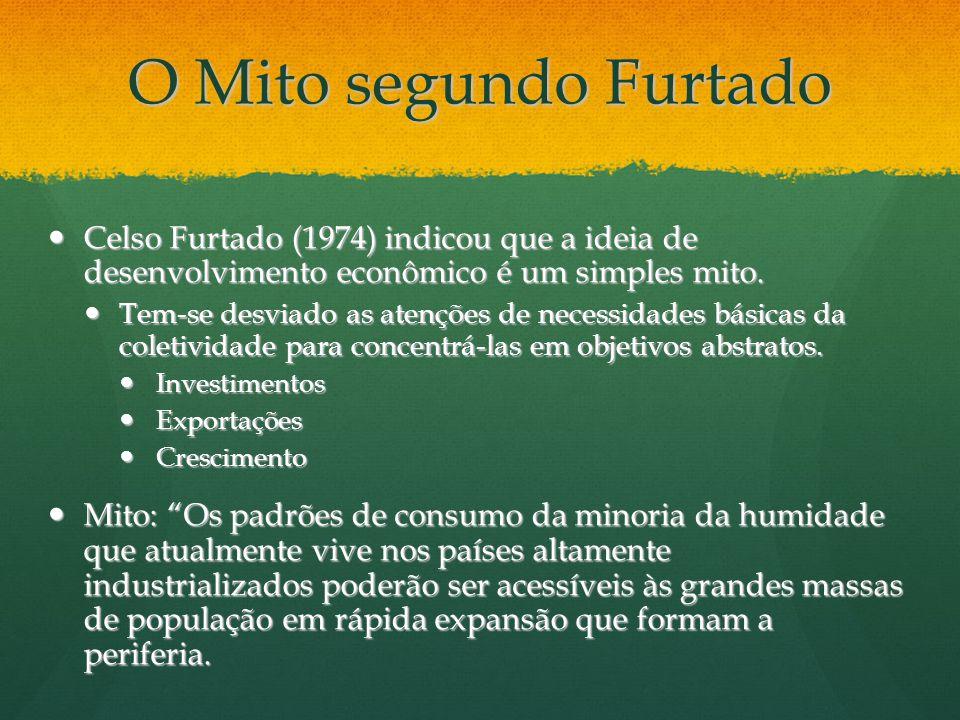 O Mito segundo Furtado Celso Furtado (1974) indicou que a ideia de desenvolvimento econômico é um simples mito.