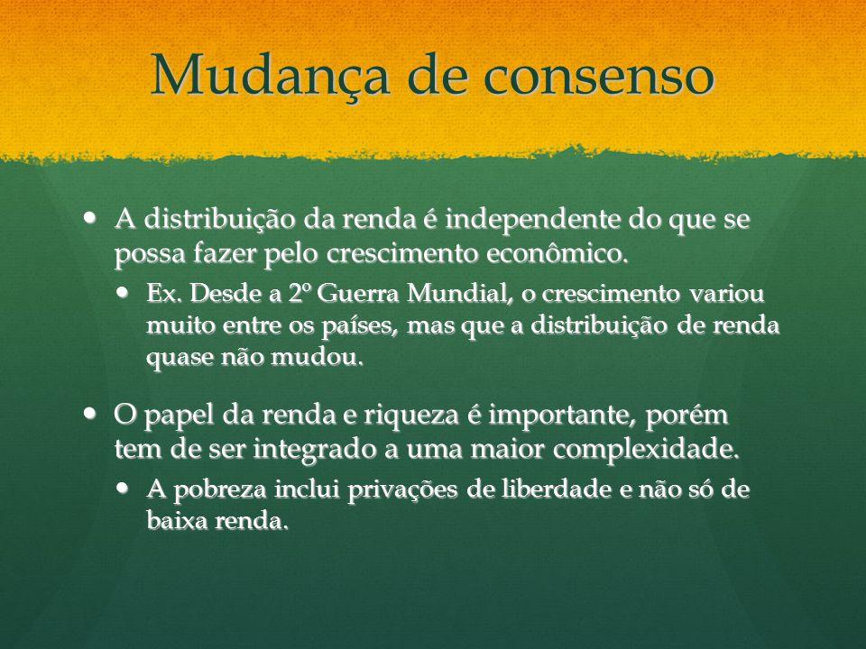 Mudança de consenso A distribuição da renda é independente do que se possa fazer pelo crescimento econômico.
