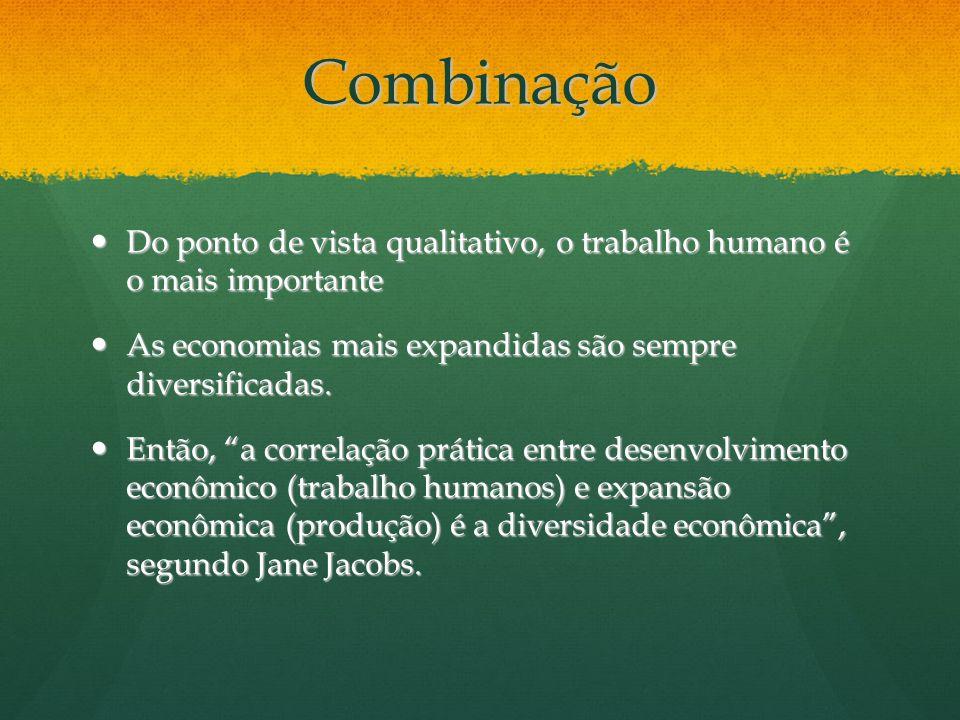 Combinação Do ponto de vista qualitativo, o trabalho humano é o mais importante. As economias mais expandidas são sempre diversificadas.