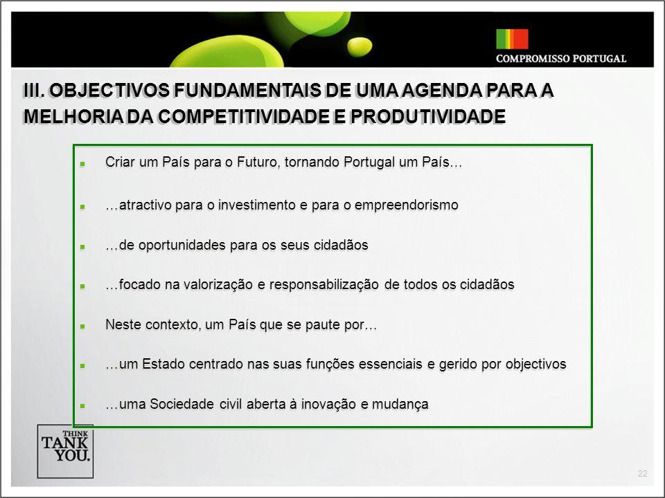 III. OBJECTIVOS FUNDAMENTAIS DE UMA AGENDA PARA A MELHORIA DA COMPETITIVIDADE E PRODUTIVIDADE