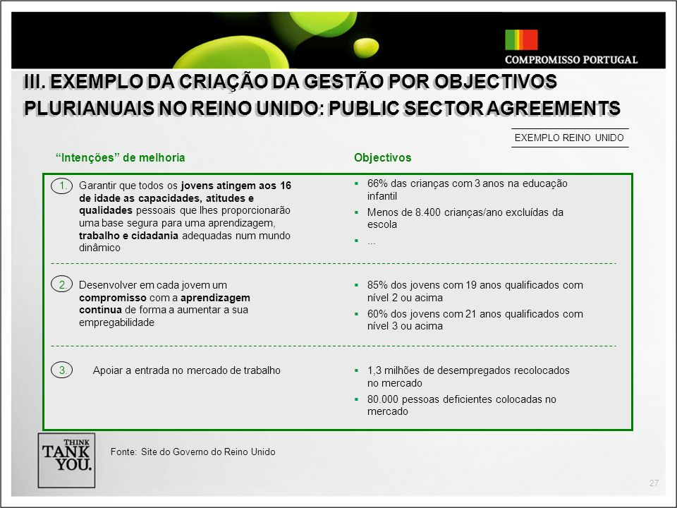 III. EXEMPLO DA CRIAÇÃO DA GESTÃO POR OBJECTIVOS PLURIANUAIS NO REINO UNIDO: PUBLIC SECTOR AGREEMENTS