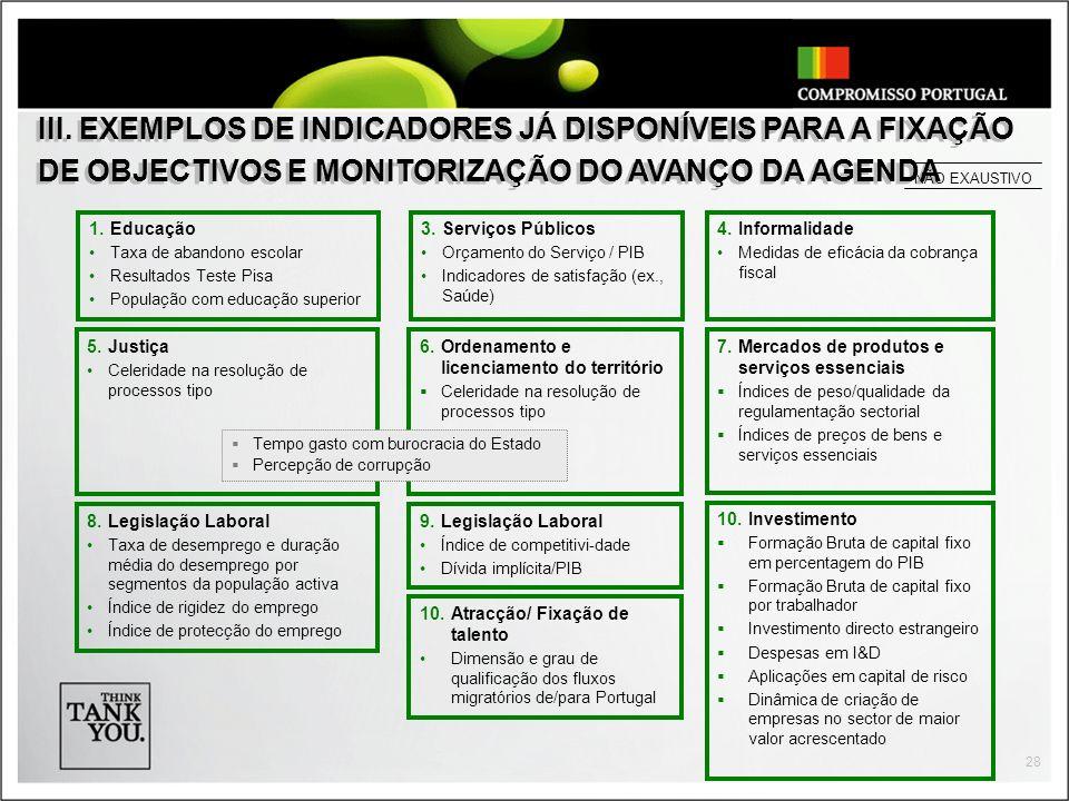 III. EXEMPLOS DE INDICADORES JÁ DISPONÍVEIS PARA A FIXAÇÃO DE OBJECTIVOS E MONITORIZAÇÃO DO AVANÇO DA AGENDA