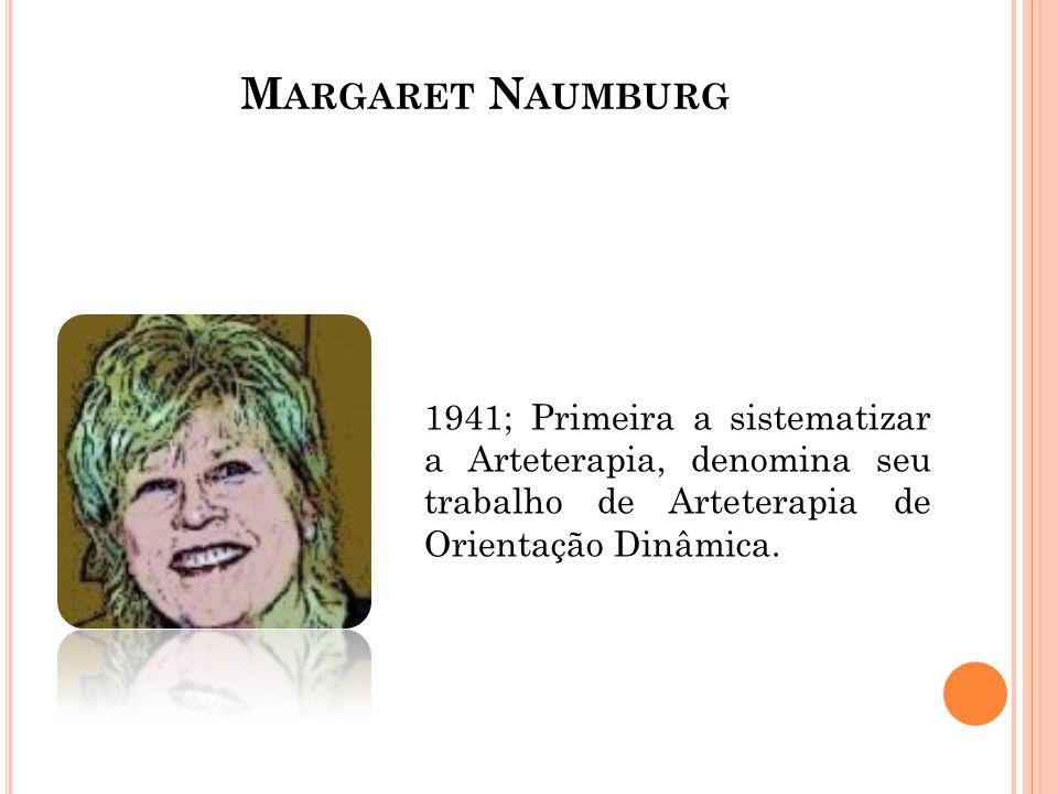 Margaret Naumburg 1941; Primeira a sistematizar a Arteterapia, denomina seu trabalho de Arteterapia de Orientação Dinâmica.