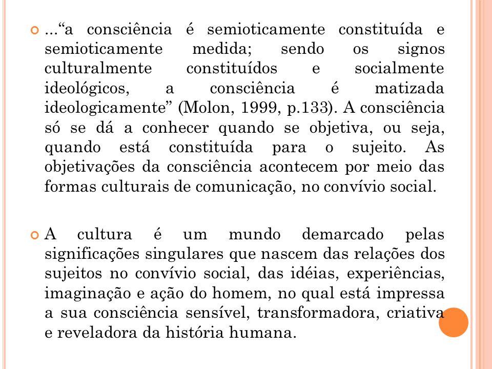 ... a consciência é semioticamente constituída e semioticamente medida; sendo os signos culturalmente constituídos e socialmente ideológicos, a consciência é matizada ideologicamente (Molon, 1999, p.133). A consciência só se dá a conhecer quando se objetiva, ou seja, quando está constituída para o sujeito. As objetivações da consciência acontecem por meio das formas culturais de comunicação, no convívio social.