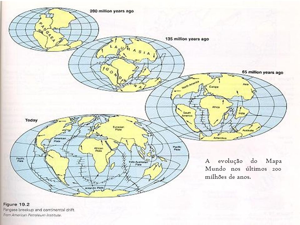 A evolução do Mapa Mundo nos últimos 200 milhões de anos.