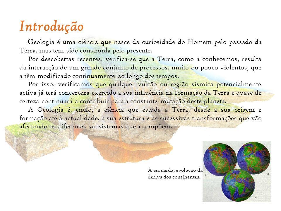 Introdução Geologia é uma ciência que nasce da curiosidade do Homem pelo passado da Terra, mas tem sido construída pelo presente.