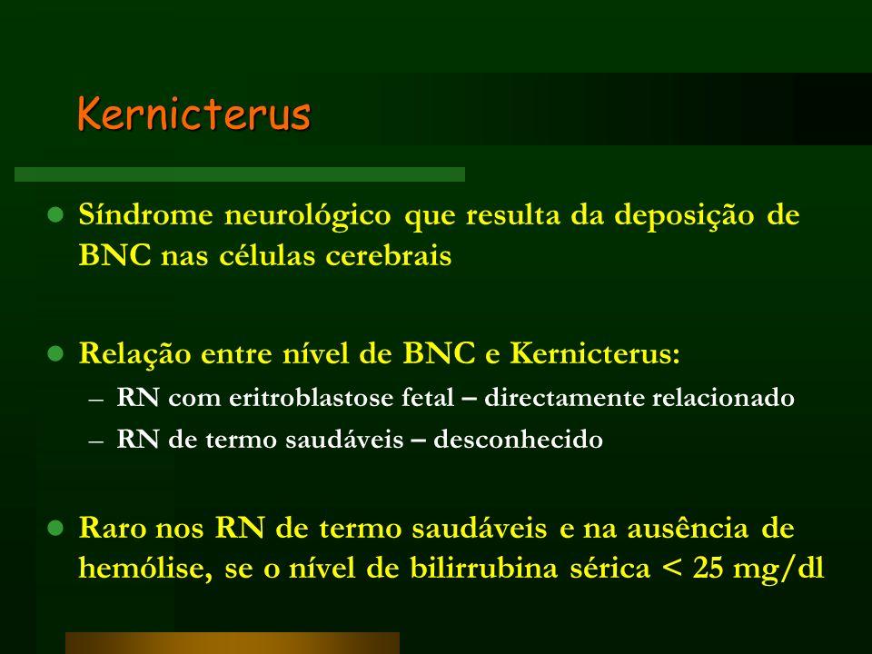 Kernicterus Síndrome neurológico que resulta da deposição de BNC nas células cerebrais. Relação entre nível de BNC e Kernicterus: