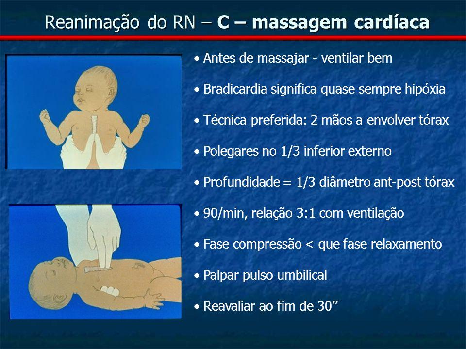 Reanimação do RN – C – massagem cardíaca