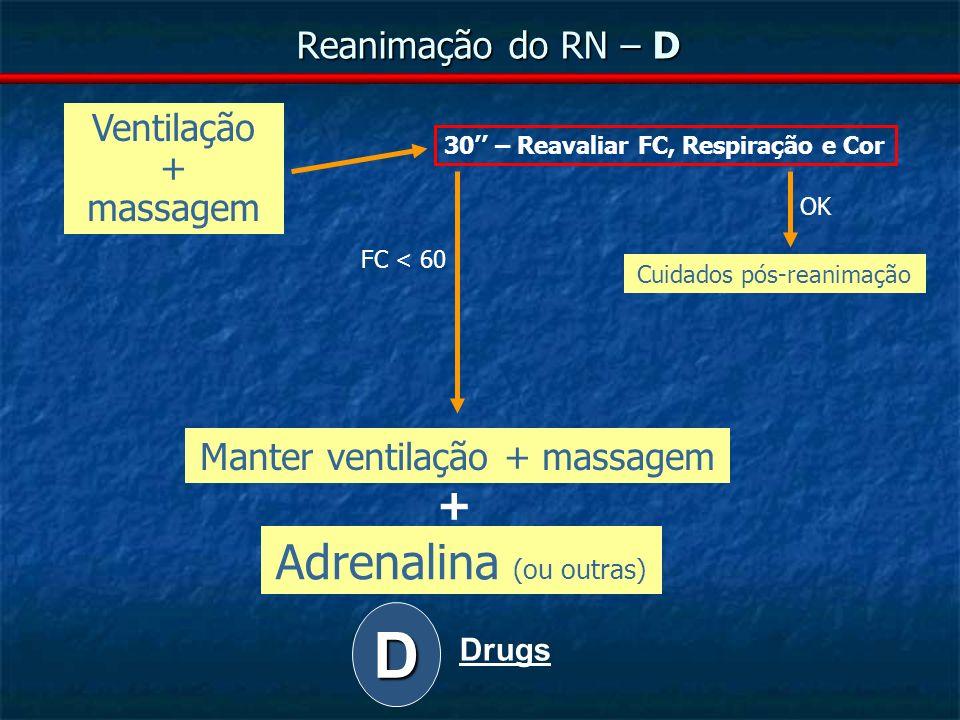 D Adrenalina (ou outras) + Reanimação do RN – D Ventilação + massagem