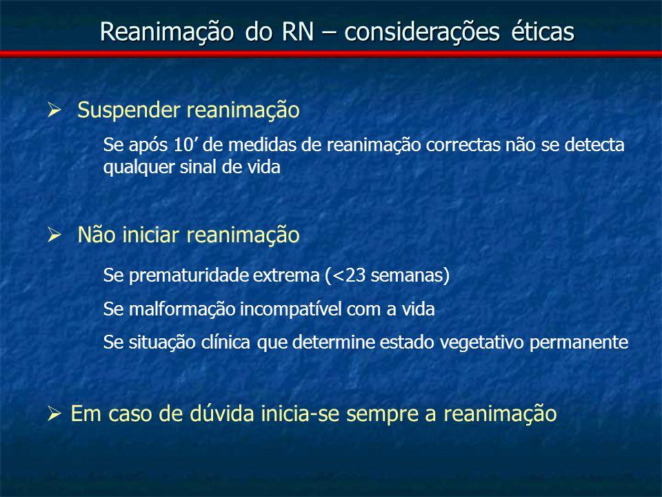Reanimação do RN – considerações éticas