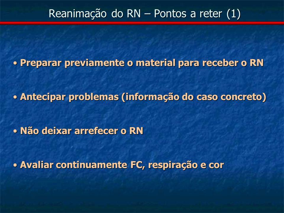 Reanimação do RN – Pontos a reter (1)