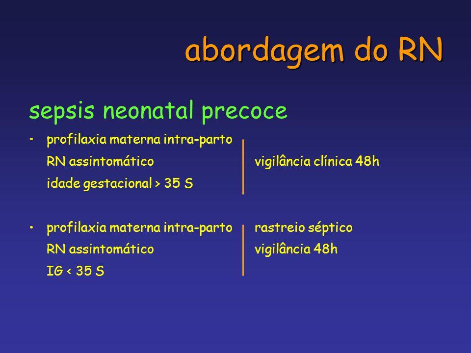 abordagem do RN sepsis neonatal precoce profilaxia materna intra-parto