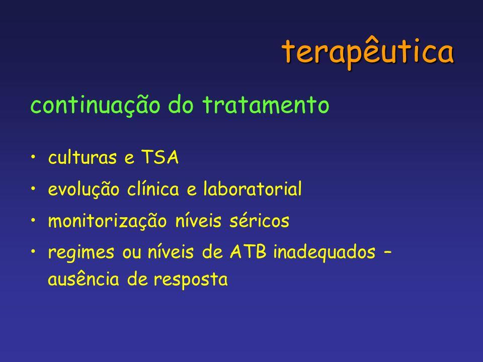 terapêutica continuação do tratamento culturas e TSA