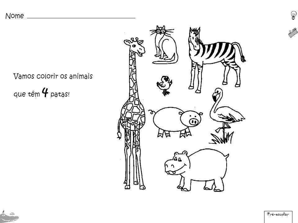 Vamos colorir os animais que têm 4 patas!