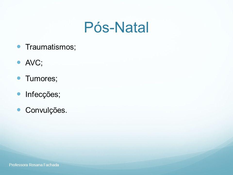 Pós-Natal Traumatismos; AVC; Tumores; Infecções; Convulções.