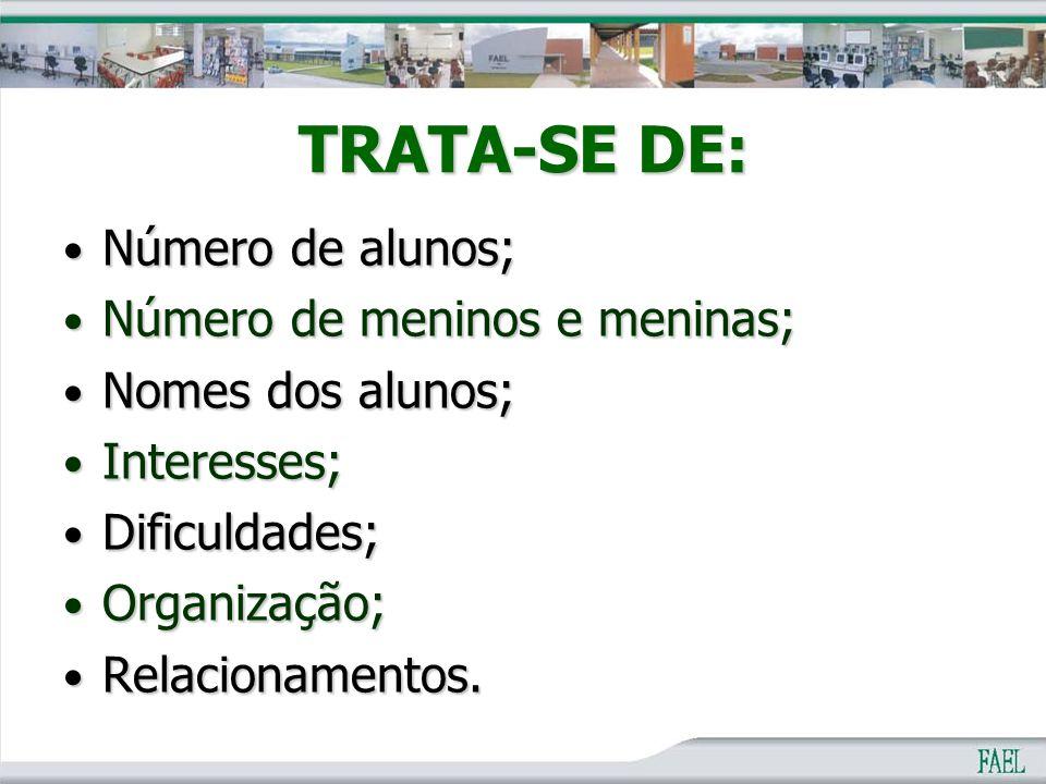 TRATA-SE DE: Número de alunos; Número de meninos e meninas;