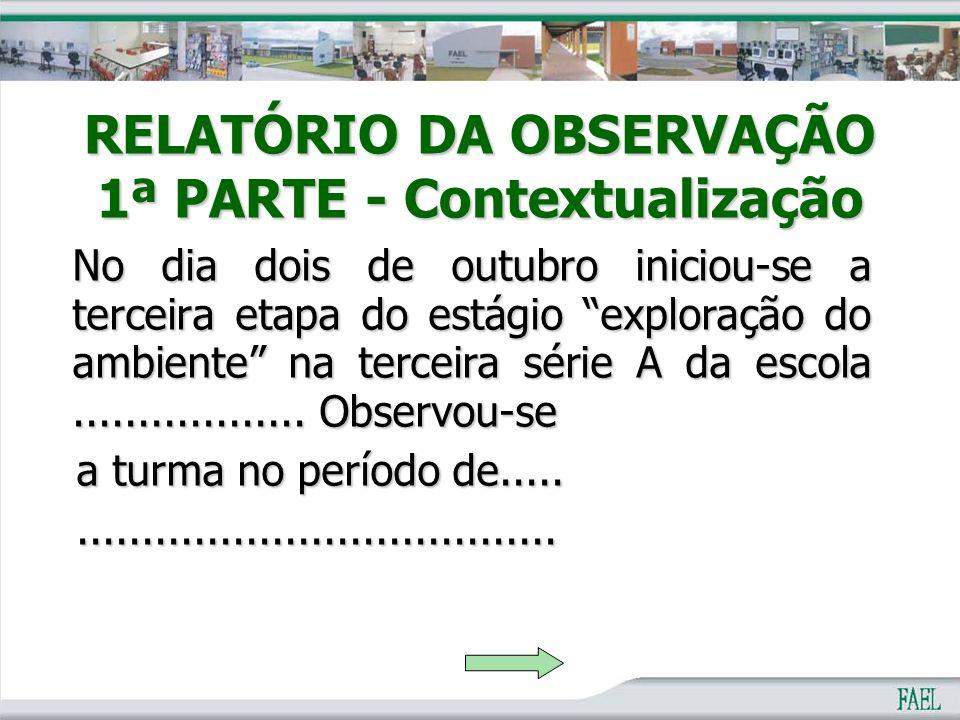 RELATÓRIO DA OBSERVAÇÃO 1ª PARTE - Contextualização