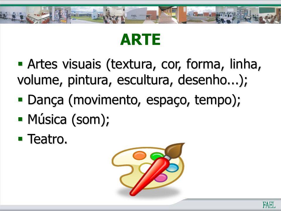 ARTE Artes visuais (textura, cor, forma, linha, volume, pintura, escultura, desenho...); Dança (movimento, espaço, tempo);