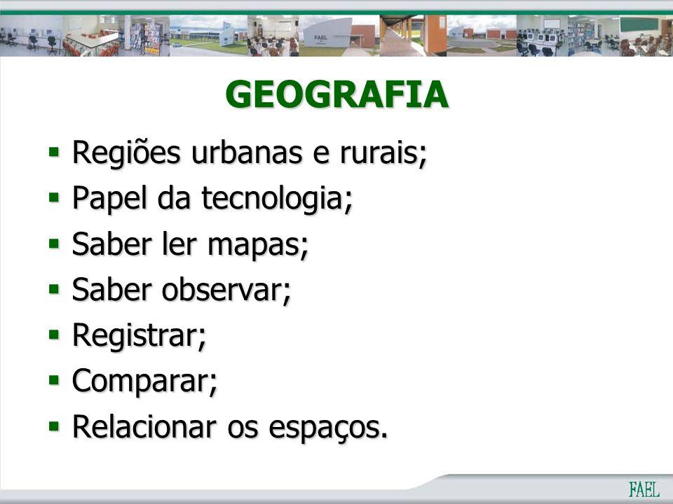 GEOGRAFIA Regiões urbanas e rurais; Papel da tecnologia;