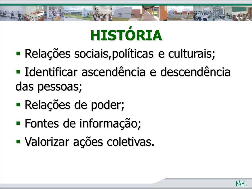 HISTÓRIA Relações sociais,políticas e culturais;