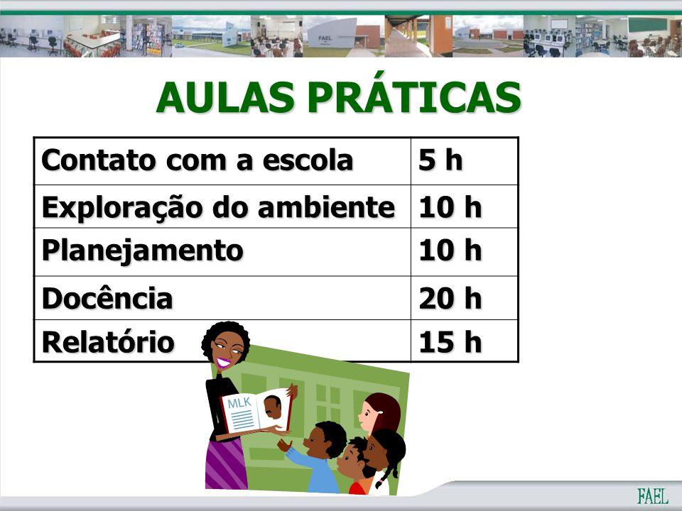 AULAS PRÁTICAS Contato com a escola 5 h Exploração do ambiente 10 h