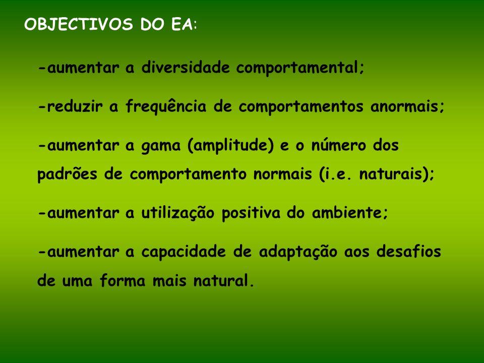 OBJECTIVOS DO EA: -aumentar a diversidade comportamental; -reduzir a frequência de comportamentos anormais;