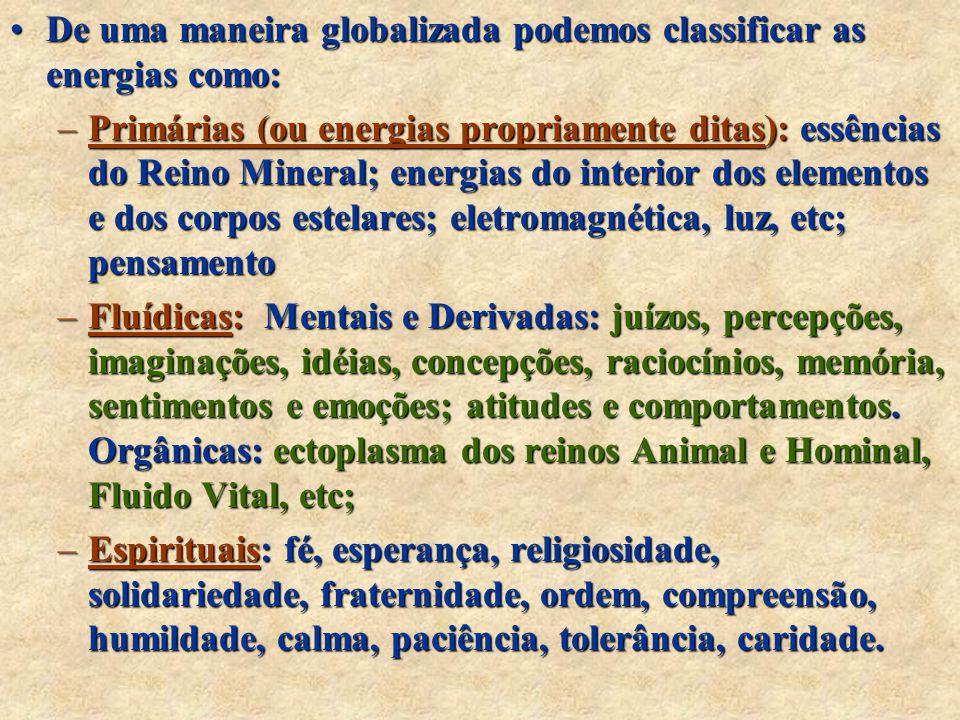 De uma maneira globalizada podemos classificar as energias como: