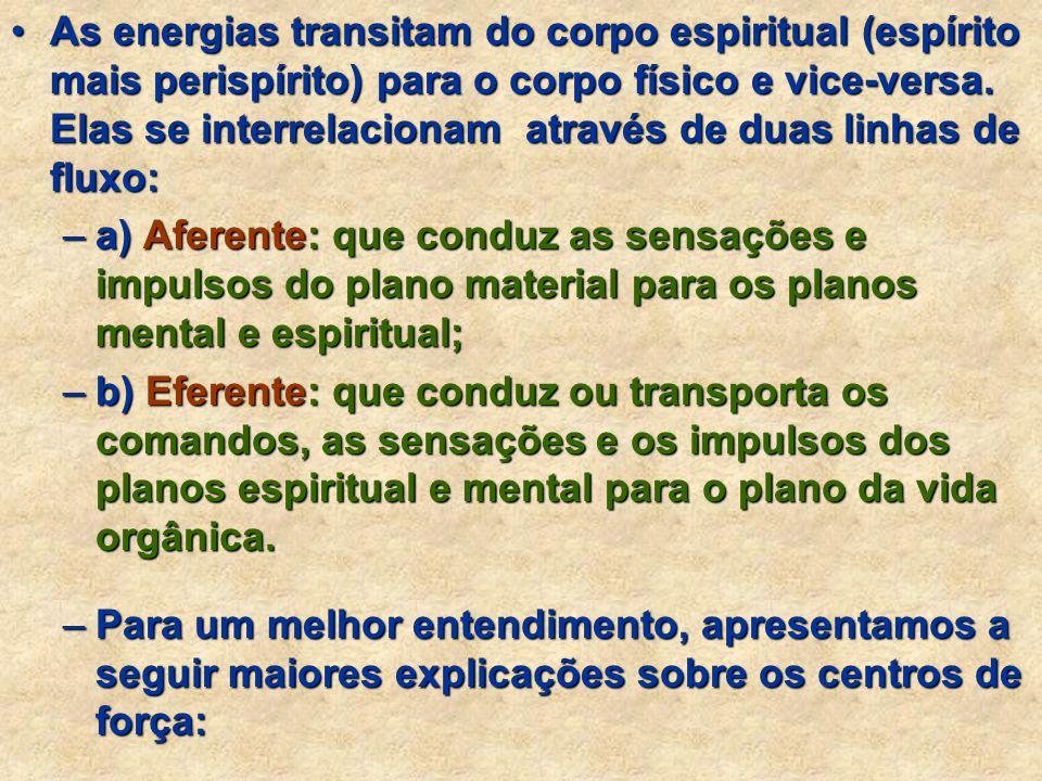 As energias transitam do corpo espiritual (espírito mais perispírito) para o corpo físico e vice-versa. Elas se interrelacionam através de duas linhas de fluxo:
