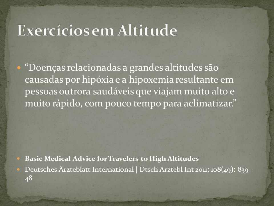 Exercícios em Altitude