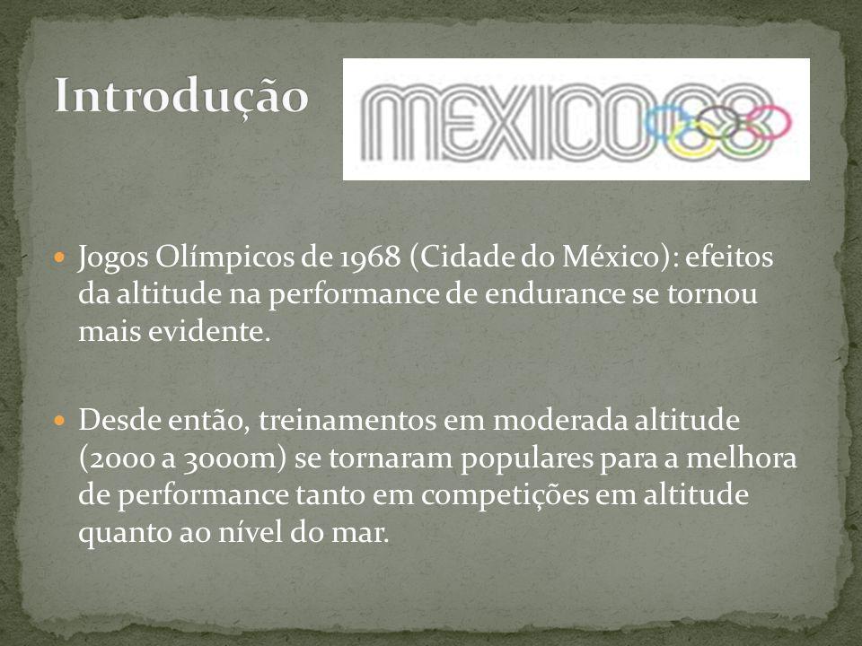 Introdução Jogos Olímpicos de 1968 (Cidade do México): efeitos da altitude na performance de endurance se tornou mais evidente.