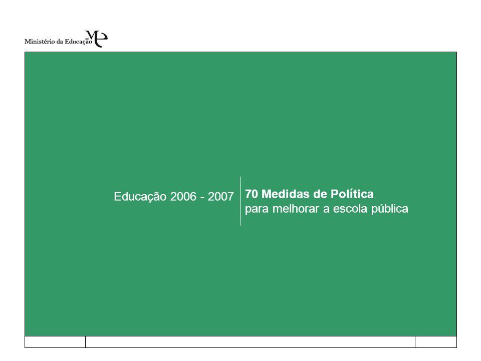 Educação 2006 - 2007 70 Medidas de Política para melhorar a escola pública