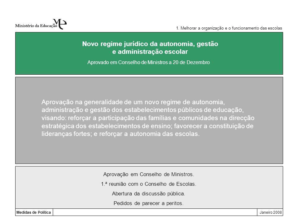 Novo regime jurídico da autonomia, gestão e administração escolar
