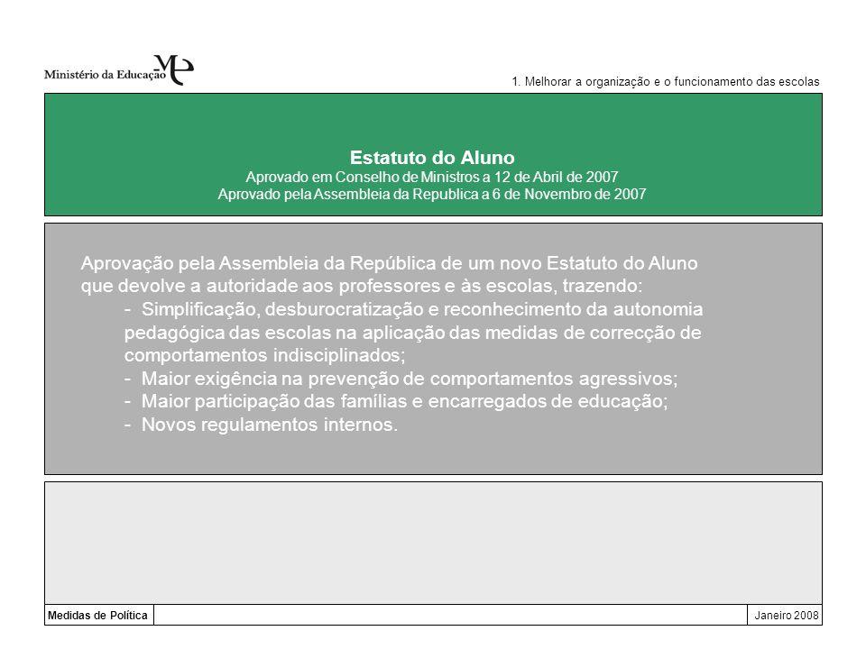 Aprovação pela Assembleia da República de um novo Estatuto do Aluno