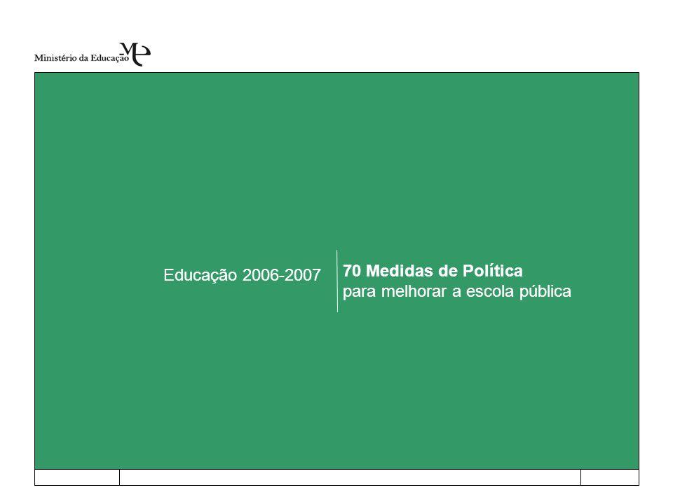 70 Medidas de Política para melhorar a escola pública Educação 2006-2007