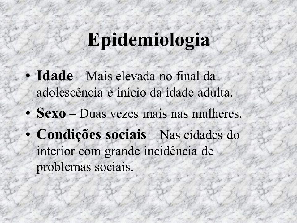 EpidemiologiaIdade – Mais elevada no final da adolescência e início da idade adulta. Sexo – Duas vezes mais nas mulheres.