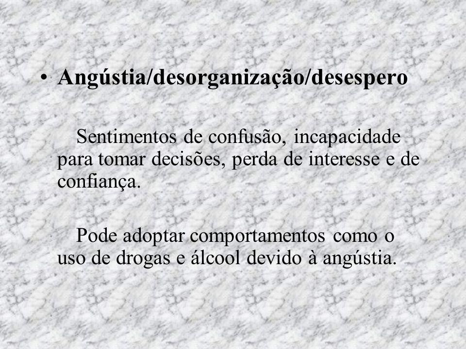 Angústia/desorganização/desespero