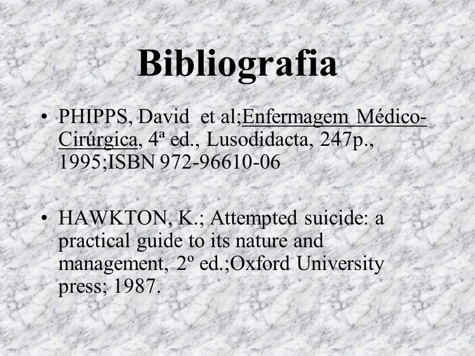BibliografiaPHIPPS, David et al;Enfermagem Médico-Cirúrgica, 4ª ed., Lusodidacta, 247p., 1995;ISBN 972-96610-06.