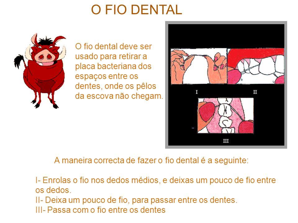 A maneira correcta de fazer o fio dental é a seguinte: