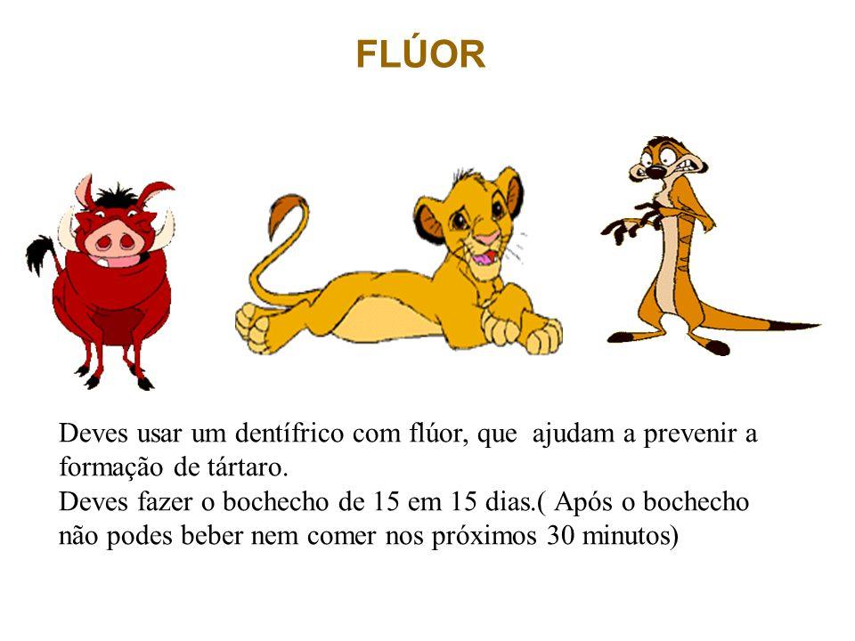 FLÚOR Deves usar um dentífrico com flúor, que ajudam a prevenir a formação de tártaro.