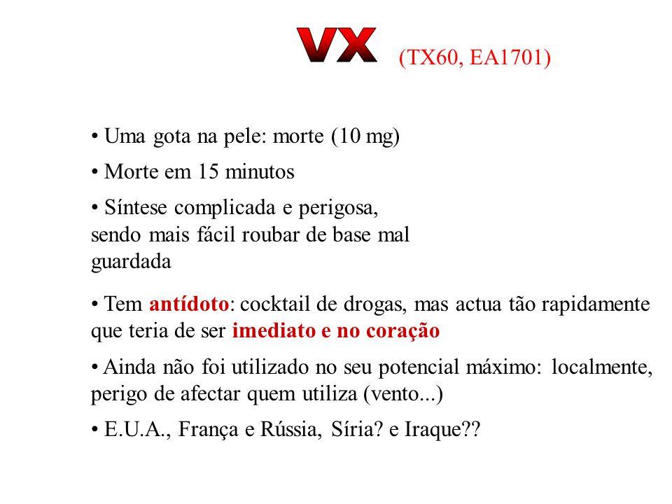 VX (TX60, EA1701) Uma gota na pele: morte (10 mg) Morte em 15 minutos