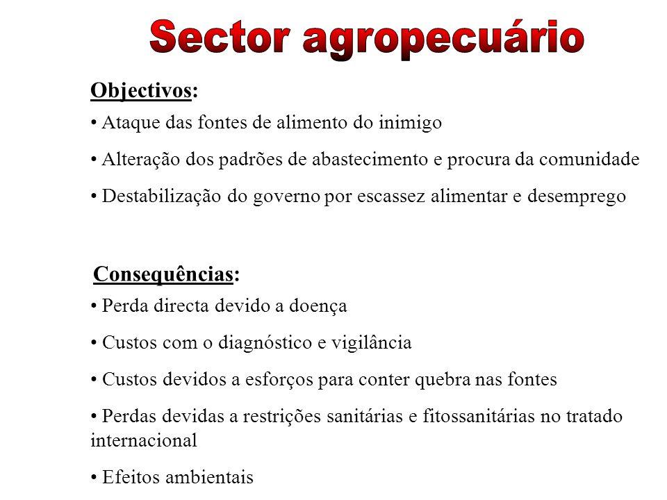 Sector agropecuário Objectivos: Consequências: