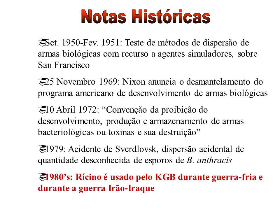 Notas Históricas Set. 1950-Fev. 1951: Teste de métodos de dispersão de armas biológicas com recurso a agentes simuladores, sobre San Francisco.