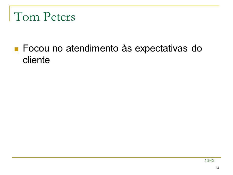 Tom Peters Focou no atendimento às expectativas do cliente