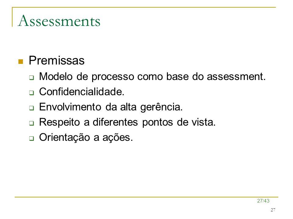 Assessments Premissas Modelo de processo como base do assessment.