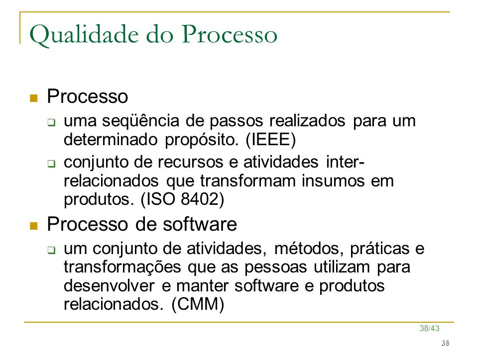 Qualidade do Processo Processo Processo de software