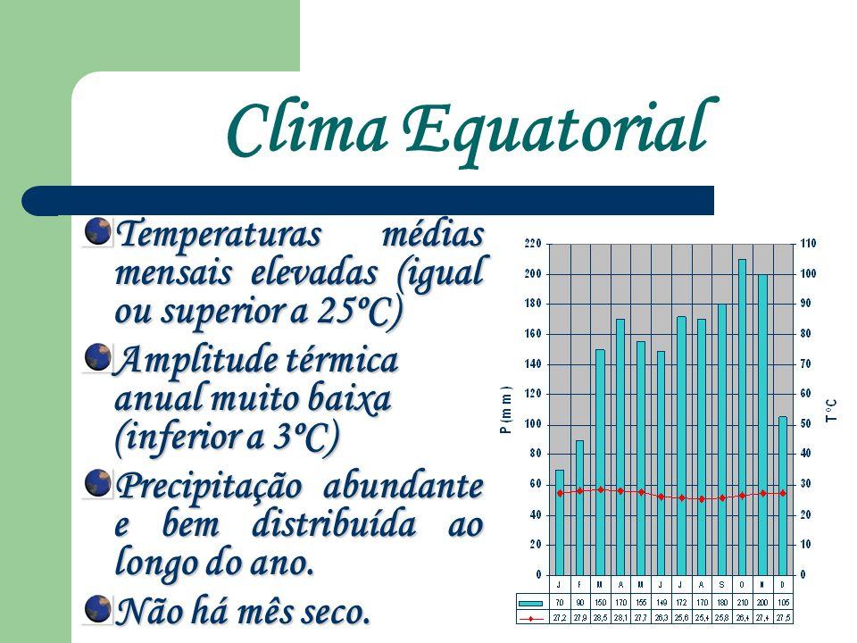Clima Equatorial Temperaturas médias mensais elevadas (igual ou superior a 25ºC) Amplitude térmica anual muito baixa (inferior a 3ºC)
